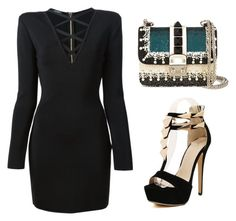 """""""long sleeve dress"""" by tania-alves ❤ liked on Polyvore featuring Balmain and Valentino"""