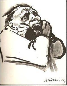 """obra de Kaethe Kollwitz,""""Hombre encadenado"""" técnica de plumilla y tinta aguada expresa el dolor de un hombre anciano que debido a su vegez sufre de soledad"""