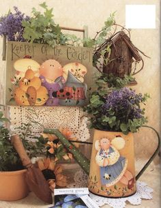 The Decorative Painting Store: Plum Purdy Garden Spice. and everything nice, All Books Painted Books, Hand Painted, Tole Painting Patterns, Garden Angels, Pintura Country, Decoupage Vintage, Pictures To Paint, Painting Pictures, Wood Crafts