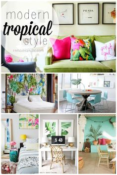 This modern tropical style is so fun and colorful! Great for a guest house or be. - This modern tropical style is so fun and colorful! Great for a guest house or beach property, or an - Style Tropical, Tropical Home Decor, Tropical Interior, Tropical Houses, Tropical Furniture, Tropical Paradise, Tropical Outdoor Decor, Hawaiian Home Decor, Modern Tropical House