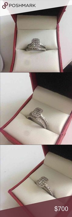 Wedding & engagement ring set I'm selling this absolutely beautiful Engagement and Wedding ring set.  14K white gold, 7/8 CT. Size 6  Princess Cut Diamond bridal wedding ring set. Jewelry Rings