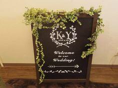 黒板+フェイクグリーンでウェルカムボード作り 手作り結婚式までの道のり