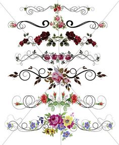 Floral Divider Lines Fancy Swirls Ornamental Edges by TuiTrading