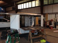 Next step is bed floor and tent later on down the road Enclosed Trailer Camper Conversion, Enclosed Trailers, Drafting Desk, Tent, Flooring, Furniture, Home Decor, Store, Decoration Home