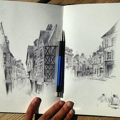 Some amazing #travel #sketchbook #drawing pages by @dinabrodsky drawn on a #bike #trip from #Paris to #Barcelona!  What a skilled hand Dina must have to capture such beautiful #architecture details  in a sketchbook after riding such lengthy distances... Love this!  #ArchitectureAirship