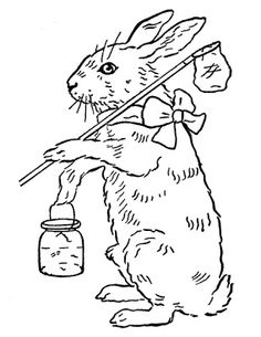 Vintage Easter Coloring Pages | Printable Coloring Page - Easter Bunny - The Graphics Fairy
