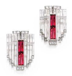 Pair of Platinum, Rock Crystal, Pink Tourmaline and Diamond Clips, Cartier, Circa 1935