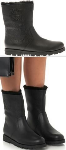 Black Meguro Fur-Lined Leather Ankle Boots
