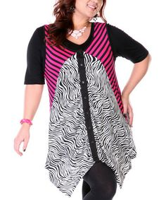 Pink & White Abstract Button-Up Vest - Plus