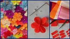 Making simple, but pretty flowers from crepe paper