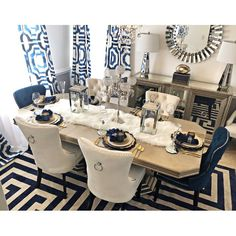 home accessories Kitchen dining rooms - Stonefort Tufted Velvet Upholstered Dining Chair Dining Room Blue, Dining Room Table Decor, Elegant Dining Room, Luxury Dining Room, Dining Room Design, Dinning Room Ideas, Navy Blue Dining Chairs, Dining Table Decor Everyday, Dining Room Sets