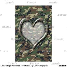 Camouflage Woodland Forest Heart on Camo Stationery #Camouflage4you #Gravityx9 -