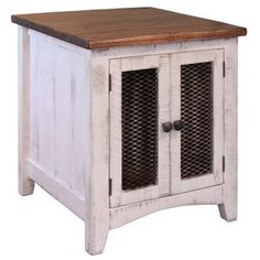Pueblo White and Pine Storage End Table White End Tables, Rustic End Tables, Side Tables, Furniture Direct, Solid Wood Furniture, Furniture Ideas, Furniture Dolly, Furniture Logo, Furniture Outlet