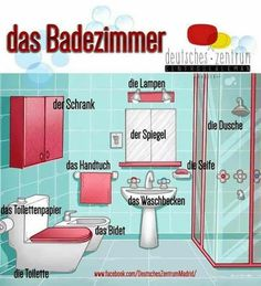 Things you can find in the bathroom Study German, Learn German, Learn French, German Grammar, German Words, German Language Learning, Language Study, Spanish Language, Spanish Lessons Online