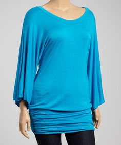 Poliana Plus Turquoise Ruched Dolman Tunic - Plus | zulily