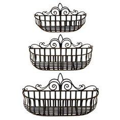 Tuscan Wrought Iron Hand Forged Wall Planter Baskets Set Of U0026 Tuscan 3 Tier  Shelf/planter Too!