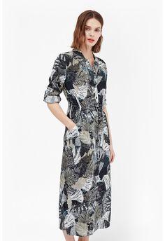 LALA PALM PRINTED SHIRT DRESS