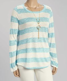 Another great find on #zulily! Blue & White Stripe Long-Sleeve Top & Necklace - Plus #zulilyfinds