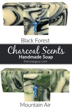 Black Forest: A deep musk with light floral notes and a touch of sandalwood and patchouli. Contains activated charcoal.  Mountain Air: Fresh clean linen fragrance with hints of aloe vera. Contains activated charcoal.