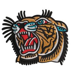 Few and Far Collective Embroidered Large 'Shon Tiger' Patch. High quality embroidered patch, ready to be ironed onto whatever the hell you like! #fewandfarcollective
