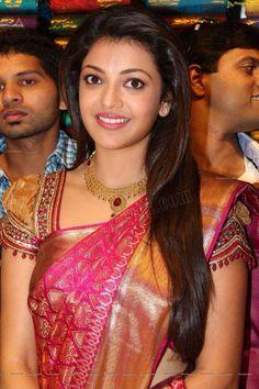 Lovely kajal in pattu saree!! Lovely blouse design ... Definitely on my list for my next one