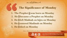The Significance of Monday, a great day for Sunnah Fasting (: