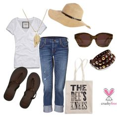 Summer brown by pbmhuck on Polyvore featuring Abercrombie & Fitch, True Religion, Hollister Co., Madewell, Fantasy Jewelry Box, Jennifer Meyer Jewelry, Melissa Odabash and Karen Walker Eyewear