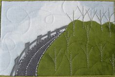 Fabric Postcard Handmade Greeting quilted Postcard by SewUpscale, $11.00