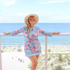 is wearing our Summer Bloom Tunic at the gorgeous Hyatt in Clearwater Upf Clothing, Sun Protective Clothing, Beachwear, Swimwear, Beach Trip, Bloom, Tunic, Stylish, Summer