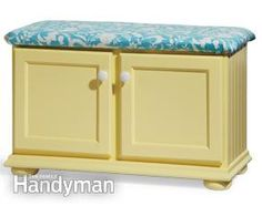 Recycle old kitchen cabinates to handy entry way storage seating.