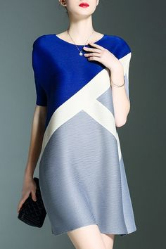 Shyslily Blue Color Block Mini Dress | Mini Dresses at DEZZAL