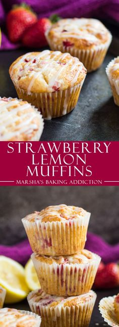 Strawberry Lemon Muffins - Deliciously moist muffins infused with lemon juice and zest, loaded with strawberries, and drizzled with a lemon glaze!