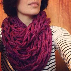 Diy arm knitted scarf.