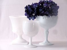 3 Eclectic Vintage White Milk Glass Footed Bowls Serving by NeoZao, $31.00