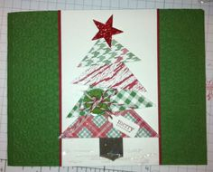 Triangle Christmas Tree card. Simple Christmas, Christmas Ideas, Christmas Tree Cards, Christmas Scrapbook, Creative Cards, Triangle, Merry, Paper Crafts, Gift Wrapping