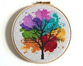 Four Seasons Cross stitch pattern Watercolor Art Rainbow cross stitch Tree Counted cross stitch Modern Embroidery Hoop Art Easy cross stitch