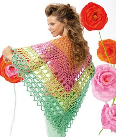 This top-down shawl is crocheted in 4 colorways of Schachenmayr original Miracle. The triangular shape begins at the center and is stitched out with a either a 3.5-4.00 mm hook.