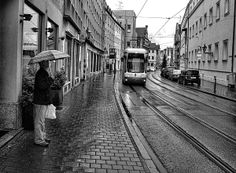 Man Waiting For Augsburg Tram
