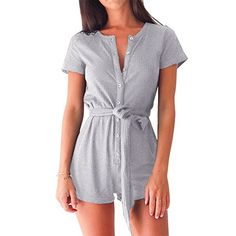 YUMDO Women's Jumpsuit Elegant Button Belted Short Leg Ro...http://amzn.to/2hAfrkw