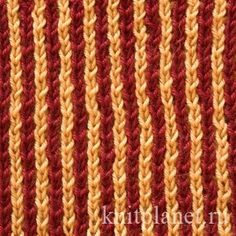 Двухцветная патентная резинка - Этот узор отлично подойдет для вязания шарфов, так как эффектно выглядит и с той и с другой стороны. Схема и видео по вязанию узора