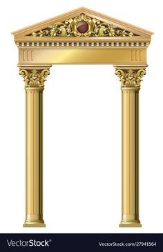Golden vintage arch portal baroque vector image on VectorStock Banner Clip Art, Baroque Fashion, Portal, Entrance, Digital Prints, Backdrops, Columns, Architecture, Luxury
