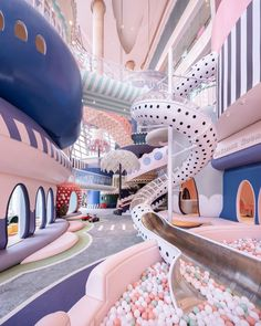 A polka-dot slide into a ball pit and giant pastel parasols feature in a fantastical miniature city called Shenzhen Neobio Family Park, by X+ Living. Bühnen Design, House Design, Interior Design, Design Interiors, Store Design, Creative Kids Rooms, Girl Bedroom Designs, Dream Rooms, Cool Rooms