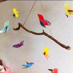Watercolor flying bird mobile. The kids made if for the mother of one of their classmates who is about to have a baby.