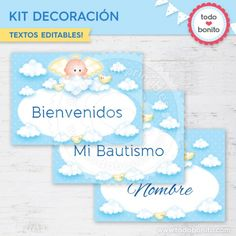 Angelito bebé celeste: Kit decoración