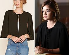 Aria's Zara cape from 6x11 'Of Late I Think Of Rosewood' was sold out before the episode even aired, but today I stumbled onto a jacket that looks almost exactly the same as hers for under $25 at Forever 21! GET THE LOOK: Forever 21 'Contemporary...