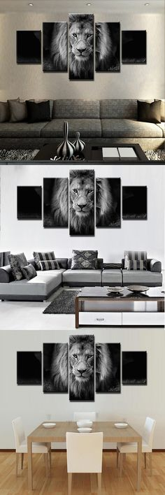 [Visit to Buy] 5 Panel Animal Lion Modern Frames For Paintings Canvas Wall Art Picture Home Decoration Living Room Canvas Print Modern Painting #Advertisement