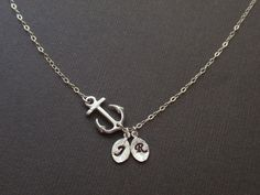 Personalized Anchor and two Initial leaf charms Sterling Silver inecklace Familly necklace, Love necklace via Etsy