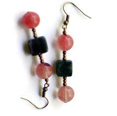 Red Pink Forest Green Natural Stone Dangle Earrings/ Semiprecious Watermelon Quartz Indian Agate Drop Earrings/ Multicolor Drop Earrings