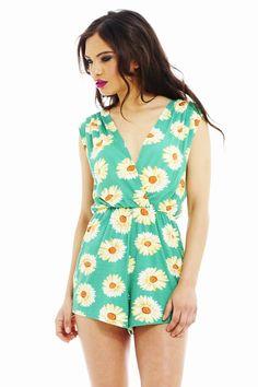 GREEN DAISY PRINT ROMPER   Shop Trendy Unique Cute Clothes & Dresses   ModMint