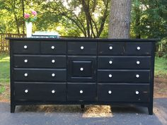 Black Nine Drawer Low Dresser / Buffet / Sideboard / Distressed / Black and White / farmhouse / rustic / shabbychic